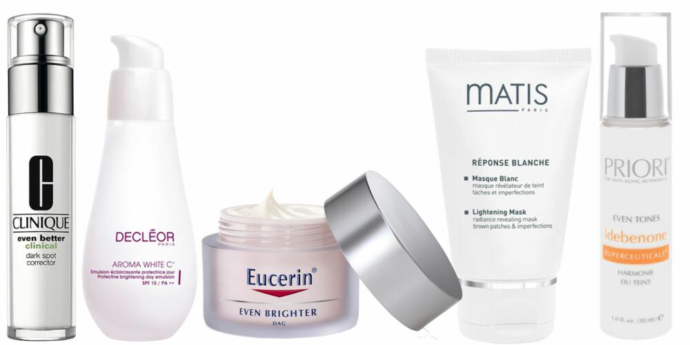 FRA VENSTRE: Clinique Even Better Clinical (kr 425), Decleor Aroma White C (kr 649), Eucerin Even Brighter Day Cream ( kr 279), Matis Lightening Mask (kr 469), Priori Even Tones (kr 1198).