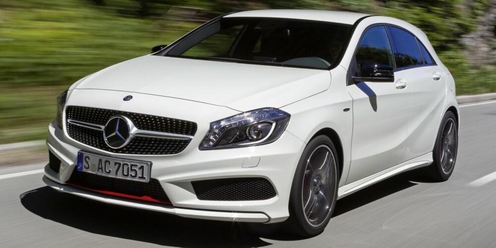SIKKERHETSPAKKE: Mercedes A-klasse kan leveres med adaptiv cruise kontroll med nødbremsfunksjon, filvarsler, blindsonevarsling, beltestrammere, automatisk lukking av vinduer og soltak, trafikkskiltgjenkjenning, nød- og assistansesystem, automatisk nedblending av hovedlys, aktive kurvelys. FOTO: Daimler AG