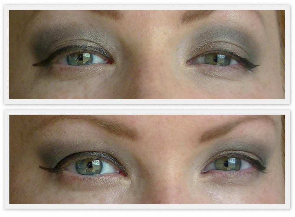 """FEIL OG RIKTIG EYELINER: Feil til venstre. Riktig til høyre. Til venstre er eyelineren for bred, slik at den dekker hele lokket og gjør øyet mindre og mer innsunket. Avslutningen i ytterkant er også for bred. Til høyre er eyelineren generelt tynnere og jevnere. Tynn og fin innerst. Ender i en vinge som gir løft til øyet. Avslutningen er også  tynn og fin, som gjør at eyelineren kan gå litt """"i ett"""" med vippene når maskaraen kommer på."""