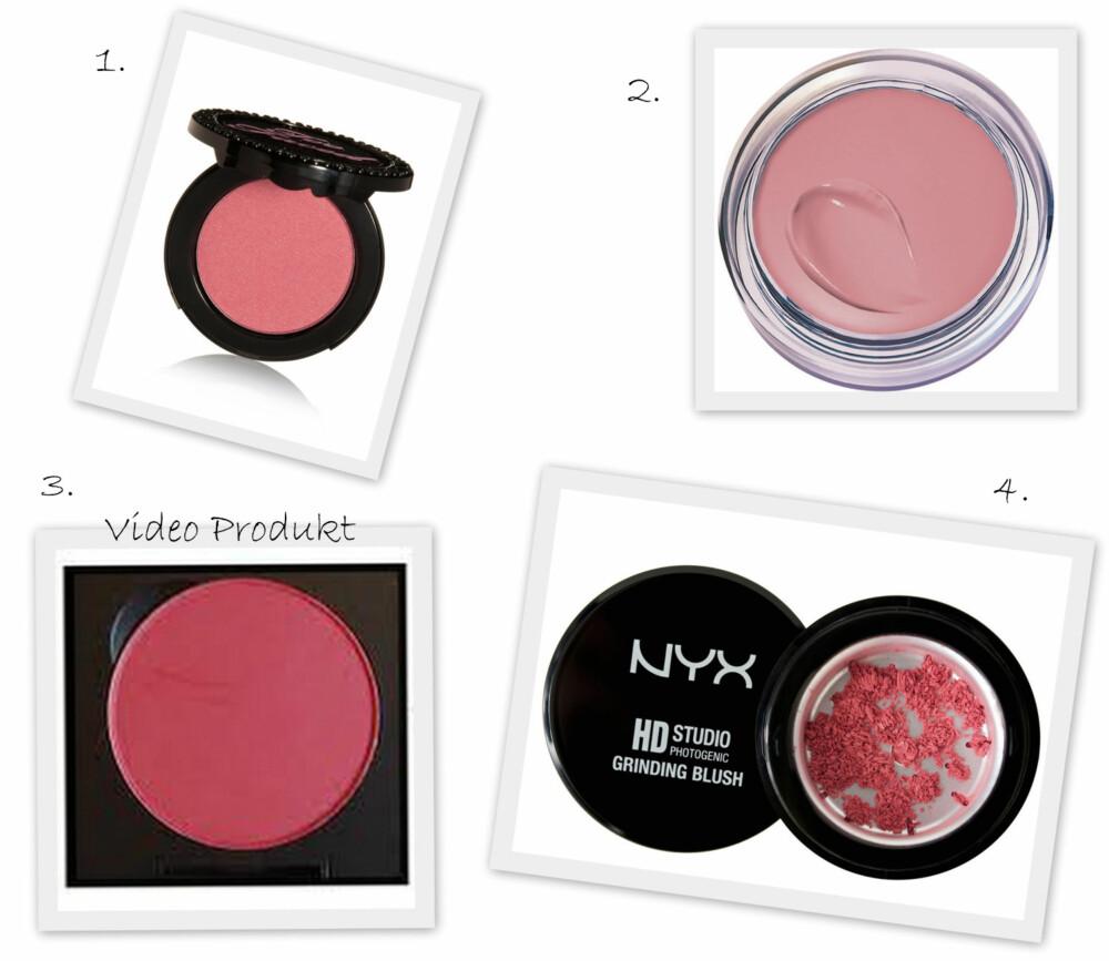 ROUGE: 1. Full Bloom Ultra Flush Blush i fargen Sweet Pink fra Too Faced (kr 225), 2. Dream Touch Blush fra Maybelline (kr 129), 3. Blusher i fargen Salsarose fra MAC (kr 180), 4. Studio Grinding Blush HD i fargen Aprikos fra NYX Cosmetics (kr 299).