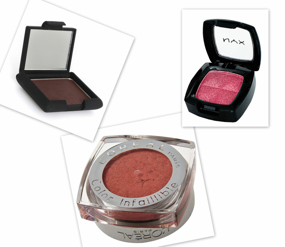 BURGUNDER SKYGGER: Single Eye Shadow i mørk plomme fra Nouba (kr 195), Single Eyeshadow i fargen Hot Pink fra NYX Cosmetics (kr 95), Color Infallible fra L'Oréal Paris (kr 115).