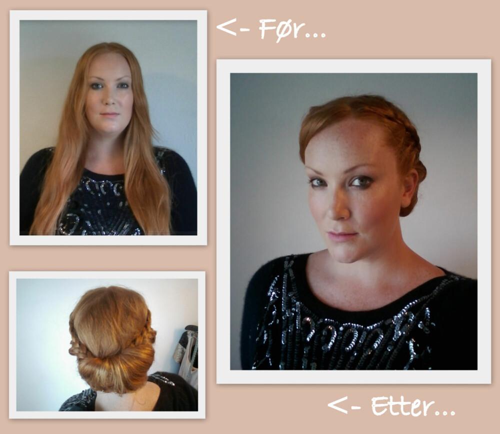 FØR/ETTER: Med en enkel chignon frisyre med fletter går man fra hverdagslig til chic på null-komma-niks!