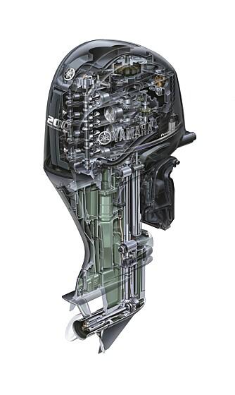 DOBBEL: F200 vil komme i to versjoner. F200F har konvensjonell, mekanisk styring av gir og gass. F200G får «drive-by-wire» som Yamaha har utviklet. SKISSE: Yamaha