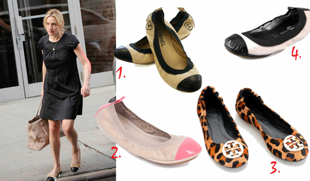 STIL OG KOMFORT: Ekspertene har talt: Det lønner seg å ha et par med pene ballerinasko i garderoben. Det har tydeligvis Kate Winslet fått med seg. 1. To-farget ballerinasko, ca. kr 1300, Chanel.  2. Supermyk balerinasko i skinn fra Yosi Samra, 480, Shopbop.com 3. Leopardmønstret Reva flats, kr 900, Toryburch.com.  4. Ballerinasko i tofarget skinn fra Yosi Samra, kr 550, Shopbop.com.