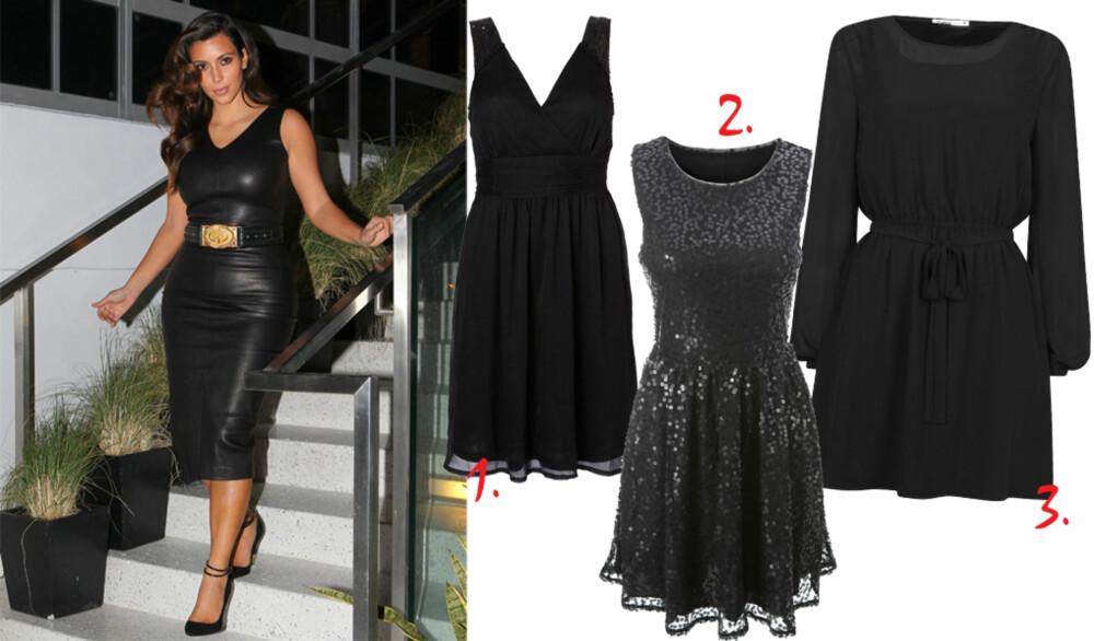 DEN LILLE SORTE: Realitystjernen Kim Kardashian vet også at man alltid kan stole på den lille sorte. 1. Sort kjole med v-utringning, kr 199, Vero Moda. 2. Kjole med paljetter, kr 299, Gina Tricot. 3. Sort kjole med lange ermer, kr 299, Cubus.