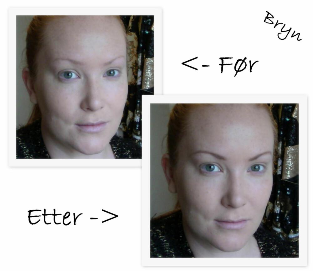 FØR/ETTER BRYN: Bryn har så mye å si for enhver makeup look. Til røde lepper er det viktig at de ikke er for sterke, men gredd og fyllt inn.