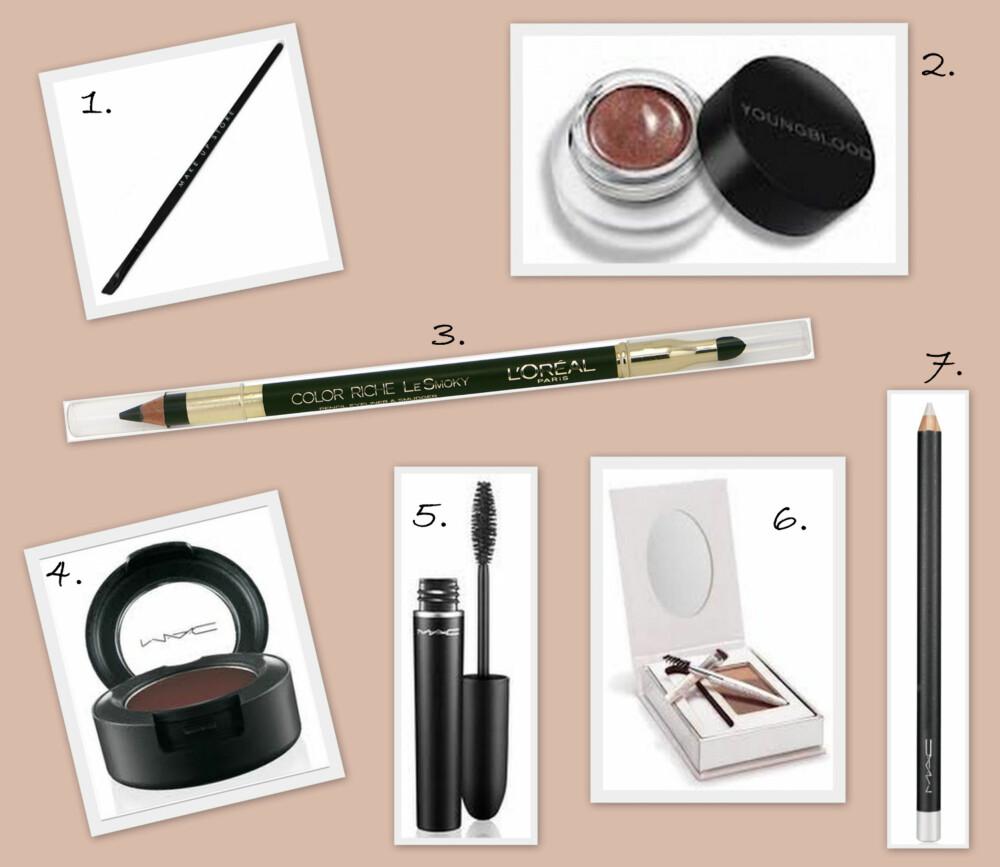 ØYNE: 1. Syntetisk skrå kost #210 fra Make Up Store (kr 115), 2. Incredible Wear Gel Liner i fargen Sienna fra Youngblood (kr 290), 3. Color Riche Le smoky Pencil Eyeliner & Smudger i fargen Antique Green fra L'Oréal Paris (kr 119), 4. Eyeshadow i fargen Embark fra MAC (kr 160), 5. X Mascara fra MAC (kr 135), 6. Brow Kit fra Fedora Minerals (kr 215), 7. Eye Kohl i fargen Fascinating fra MAC (KR 140).