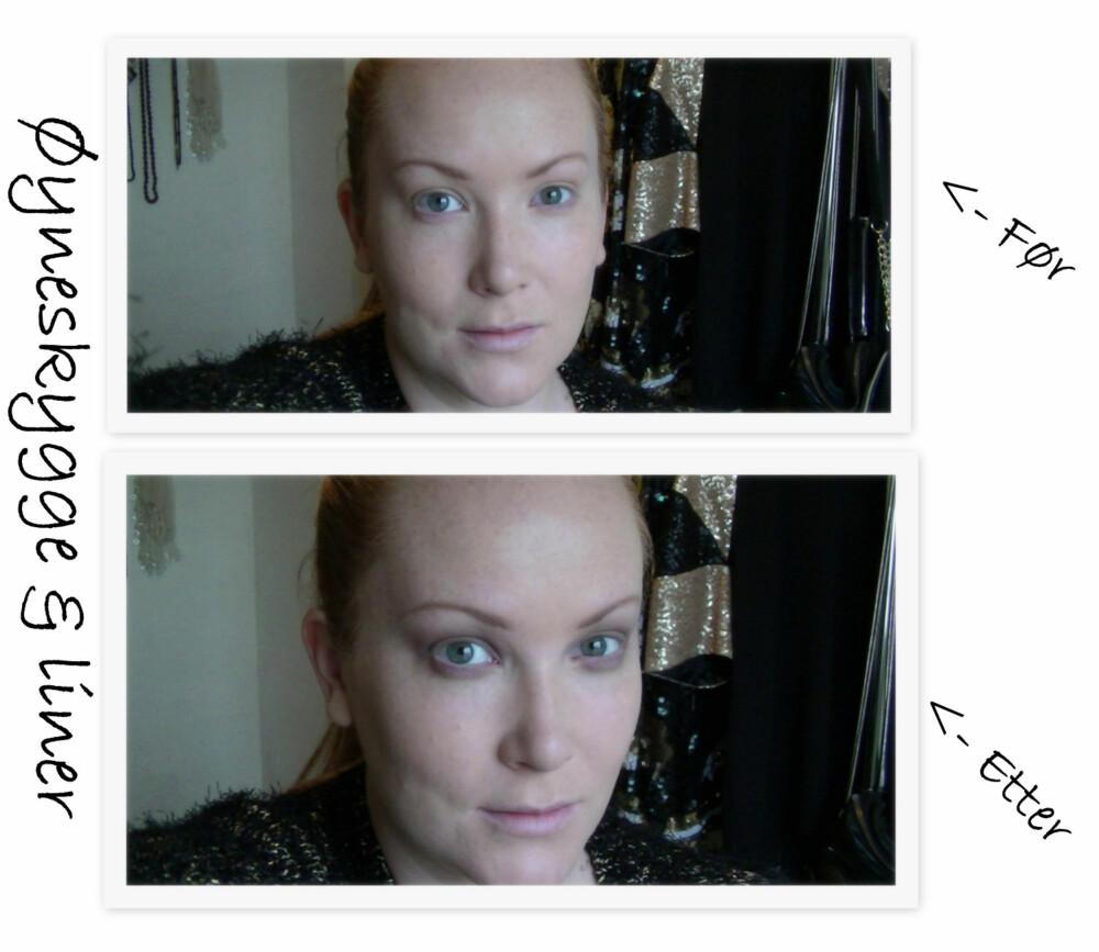 FØR/ETTER ØYESKYGGE OG LINER: En liten definisjon til øyne er alt som skal til når vi bruker røde lepper. En varm bruntonet øyeskygge og en bronze geleliner passer perfekt!