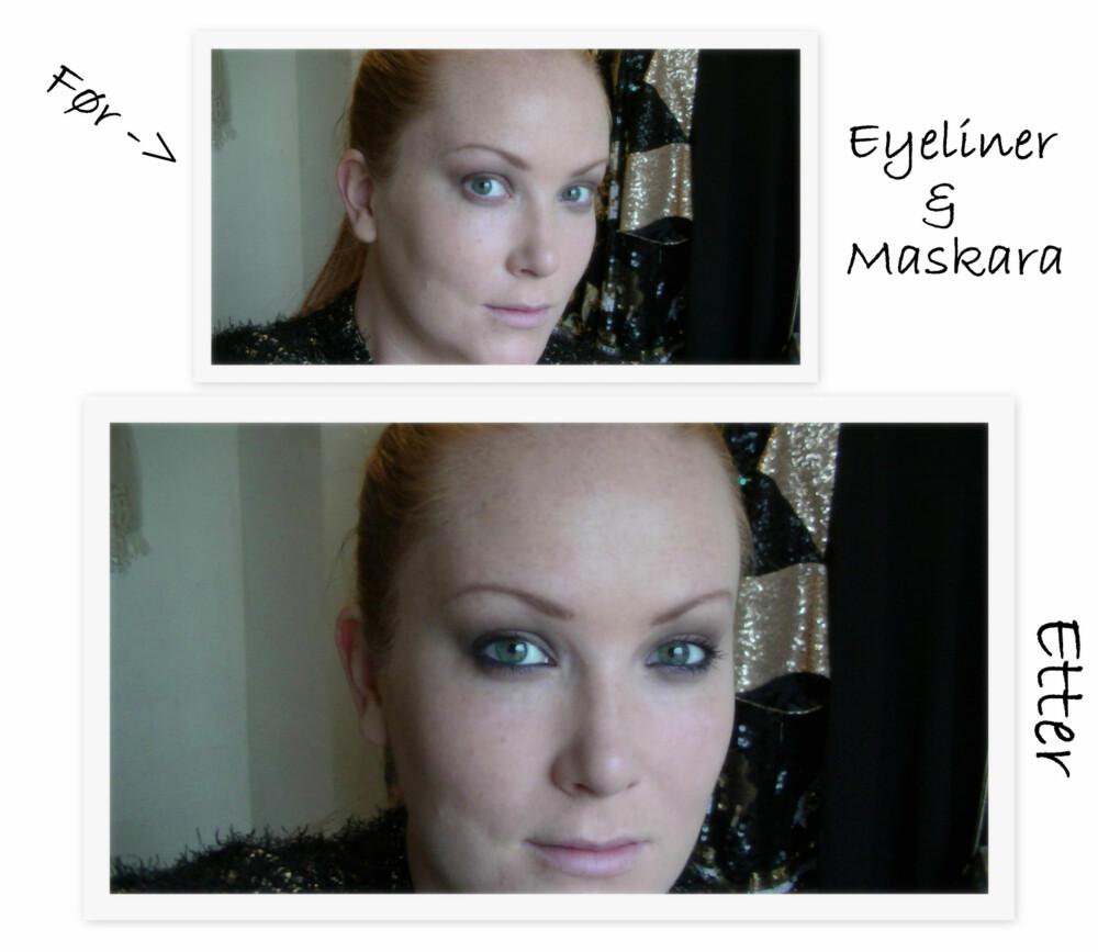 FØR/ETTER EYELINER & MASKARA: Øynene er bare ikke helt ferdige før maskara er på plass! Her har jeg også brukt en grønn eyeliner på våtkanten for en litt mer dramatisk effekt.
