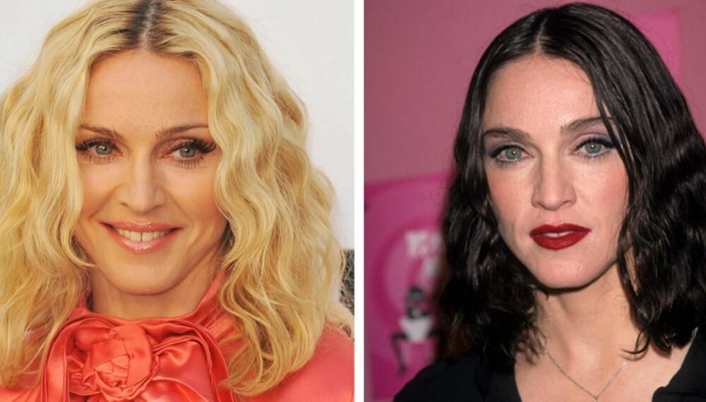 HÅRET GJØR DEG YNGRE: Eller eldre om du vil. For mørkt hår med for streng midtskill legger til noen år på din egentlige alder. Madonna farget håret helt mørkt i 1998. Hun kler bedre de lyse og løsere lokkene, som på dette bildet fra 2010.