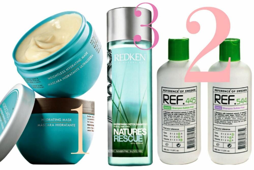 1) Moroccanoil Weightless Hydrating Mask, kr 299,- 2) Ref Shampoo Sulfate Free for forskjellige hår-typer, kr 185,- pr. stk. 3) Redken Nature's Rescue Refreshing Detox Shampoo, kr 235,-