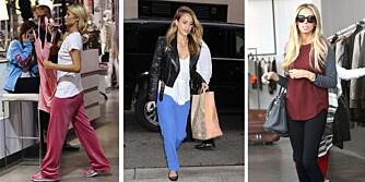 BEHAGELIG KLEDT: Det er best å shoppe i klær som er lette å ta av og på. Det ser det ut som om både Paris Hilton, Jessica Alba og Petra Ecclestone har fått med seg.