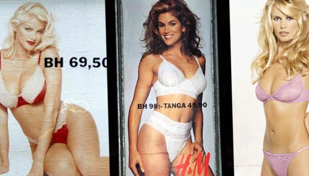 H&M-KAMPANJER: Anna Nicole Smith prydet plakatene i 1993, Cindy Crawford var allerede rundt omkring i Norges land i 1991, mens vi måtte vente helt til år 2000 på Claudia Schiffer.
