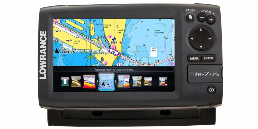 KNAPP: «Page Selector» er en dedikert knapp for Hjem-skjerm, i tillegg til åtte forhåndsdefinerte skjermpaneler. FOTO: Lowrance