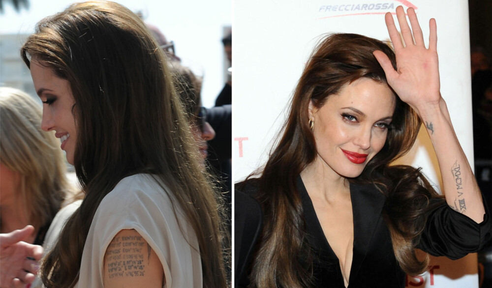INKED: Angelina Jolie har ikke så rent få tatoveringer. Blant annet har hun fått risset inn koordinatene på hvor i verden alle hennes 6 barn er født.