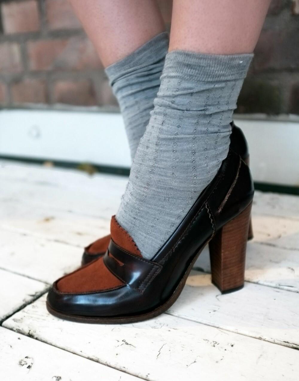 ULLSOKKER: Ullsokker i skoene er trendy denne vinteren.