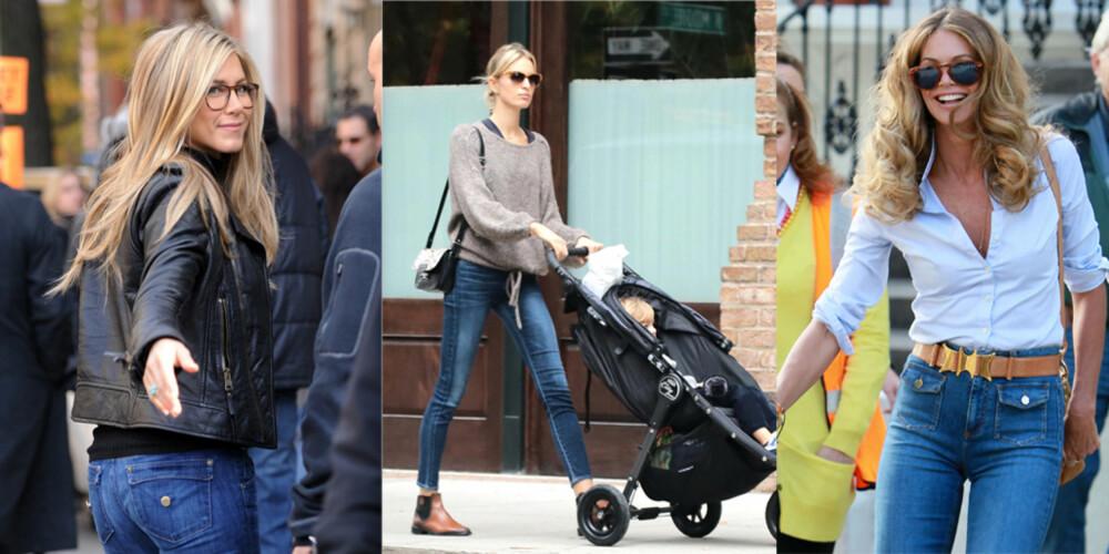 NØKKELPLAGG: Selv kjendiser som Jennifer Aniston, Karolina Kurkova og Elle McPherson kan ikke klare seg uten favorittplagget i garderoben.