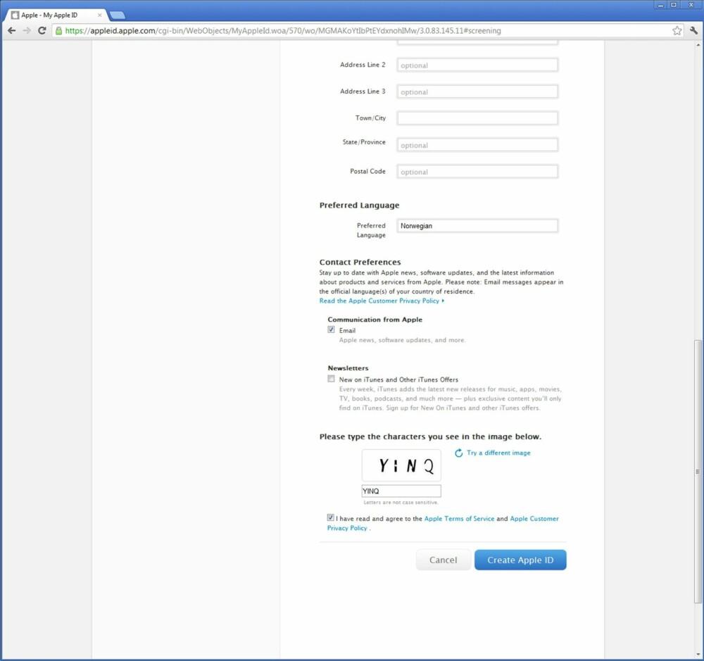 2. For å opprette en Apple ID må du taste inn noe informasjon om deg selv, og deretter trykke «Create Apple ID» nederst i skjermbildet. Merk at du trenger en e-postadresse som ikke er knyttet til noen annen Apple ID fra før.