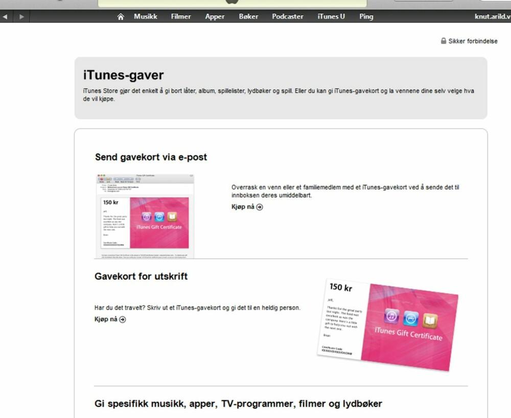 6. Fra iTunes store kan du velge om du ønsker et gavekort som sendes direkte til mottageren på e-post, eller et som du skriver ut selv. Vi velger e-post-varianten i dette eksempelet.
