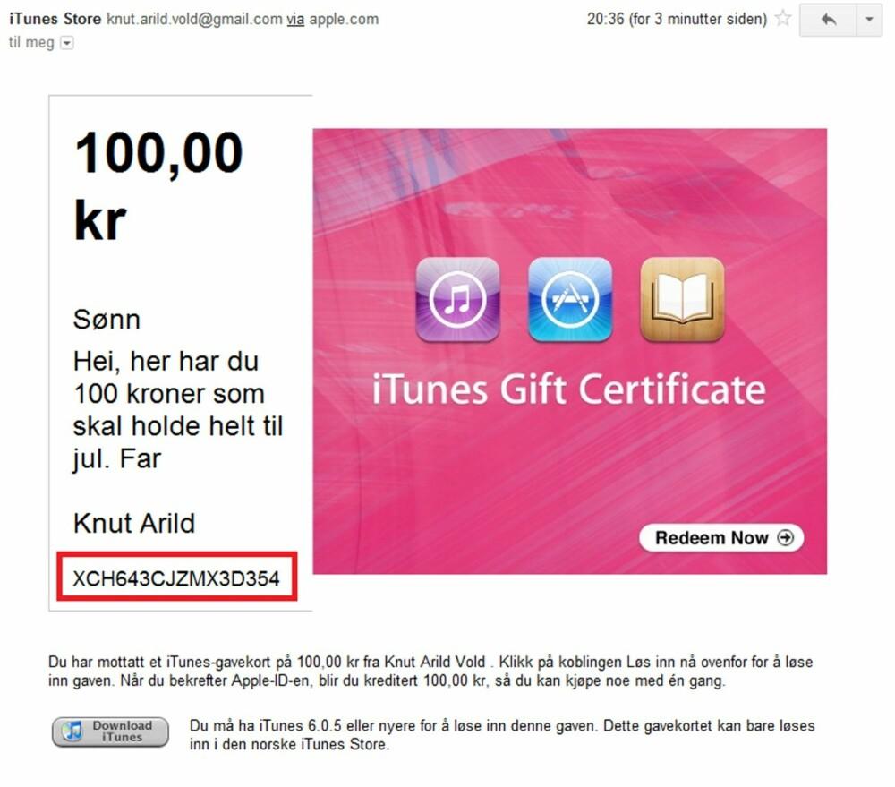 8. Vips så har mottageren fått en e-post med en kode som kan registreres direkte på iPaden. Det er koden med tall og bokstaver under meldingen du skrev som skal brukes.