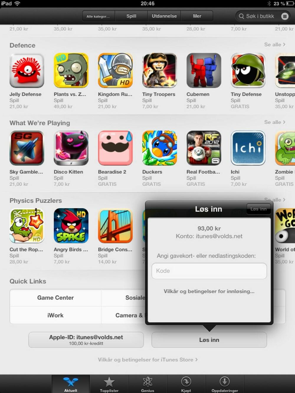 12. For å innløse et nytt gavekort, gå til AppStore direkte på enheten og bla deg helt ned under «Aktuelt». Her finner du informasjon om hvor mye som er på din konto. Ved å bruke knappen «Løs inn», kan du legge inn kode fra et nytt gavekort.