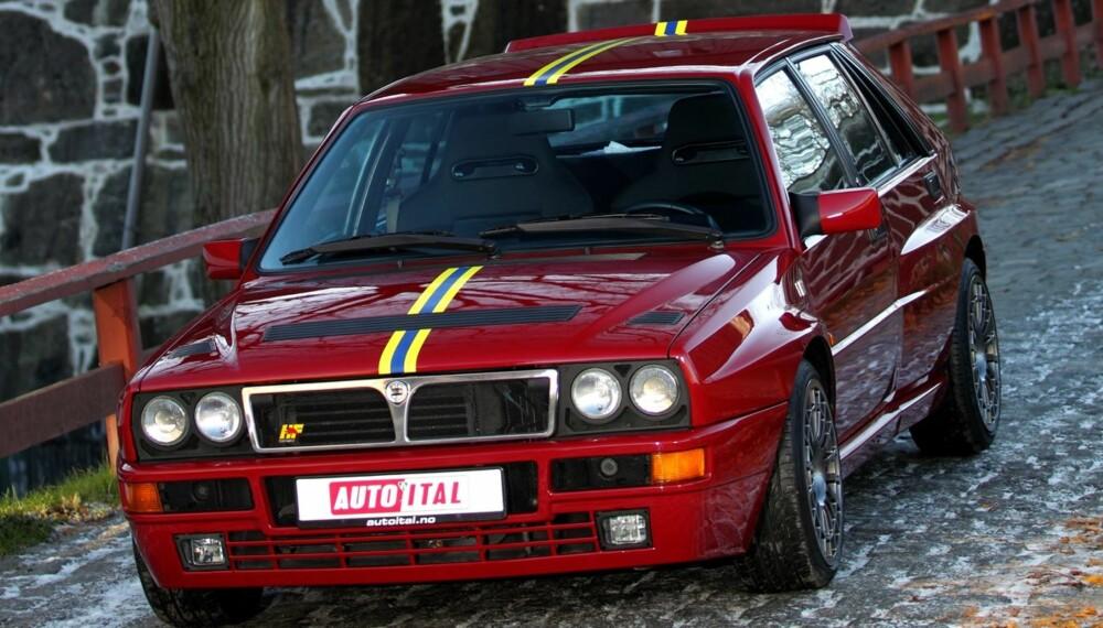 DELTA-STYRKEN: Lancia Delta Integrale dukket opp på 80-tallet, men denne verstingversjonen, Lancia Delta HF Integrale Evoluzione 2 (puh!), er fra 90-tallet. FOTO: Egil Nordlien, HM Foto