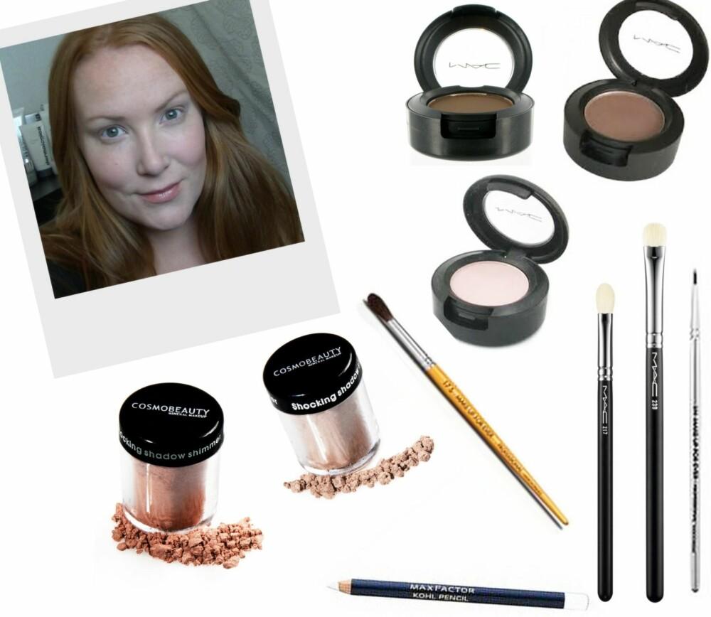 ØYNENE I FOKUS: 1. Eyeshadow i fargen Brun fra MAC (kr 160), 2. Eyeshadow i fargen Patina fra MAC (kr 160), 3. Eyeshadow i fargen Yogurt fra MAC (kr 160), 4. Shadow Shimmer Pigment i Bronze fra Cosmo Beauty  (kr 207), 5. Shadow Shimmer Pigment fra Cosmo Beauty  (kr 207), 6. Multi-use kost #17S fra Make Up For Ever (kr 433), 7. Kohl Pencil i fargen White fra Max Factor (kr 75), 8. Blending Brush  #217 fra MAC (kr 195), 9. Eye shading #239 fra MAC (kr 230), 10. Eyeliner brush #1N fra Make Up For Ever (kr 186).