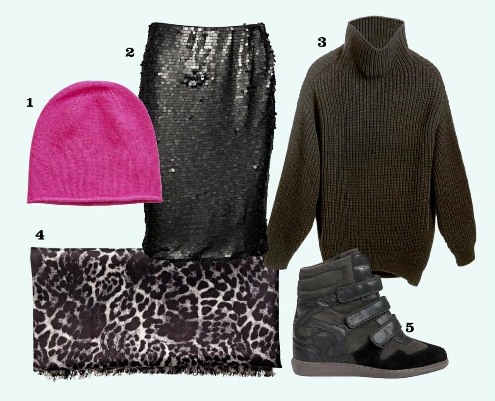 PÅ DATE: Få en avslappet og kul stil når du skal på date med å mikse et paljettskjørt med joggesko og en oversized genser.