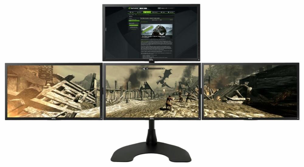 FIRE: Nvidia Surround med tre skjermer til spill, og en skjerm som «accessory display» med nettleser.