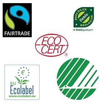 MERKER OG SERTIFISERINGER: Her er noen av merkeordningene og sertifiseringene du kan se etter om du ønsker å handle økologisk, miljøvennlig eller Fairtrade.