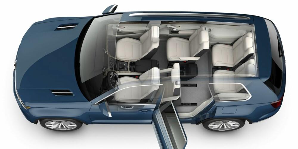 MPV: Midtraden kan gjøres om til treseter og alle setene i midterste og bakerste rad kan legges ned for mest muig lasteplass. Også passasjersetet foran kan legges ned.