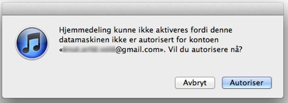 2. Hvis du ikke allerede har gjort det, må du nå autorisere datamaskinen for Apple-ID-en din. (Dette får du maksimalt gjort på fem maskiner). Trykk «Autoriser», og deretter «OK» når du får beskjed om at autoriseringen er fullført.