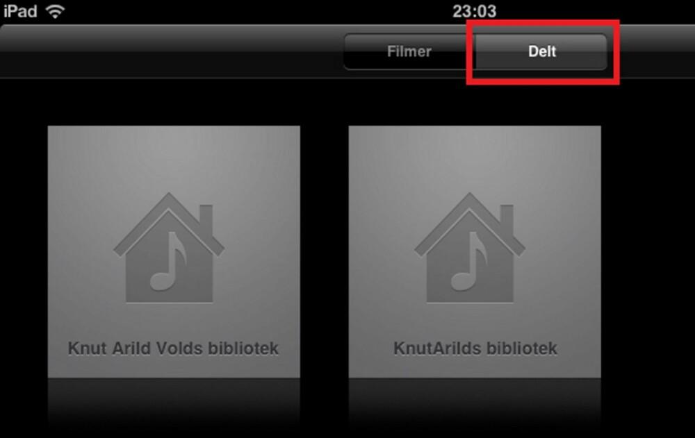 6. Vil du åpne delte videoer, starter du «Video»-funksjonen på iPad eller iPhone, og deretter knappen «Delt» øverst til høyre. Du får på samme måte opp de aktuelle bibliotekene som deler video.