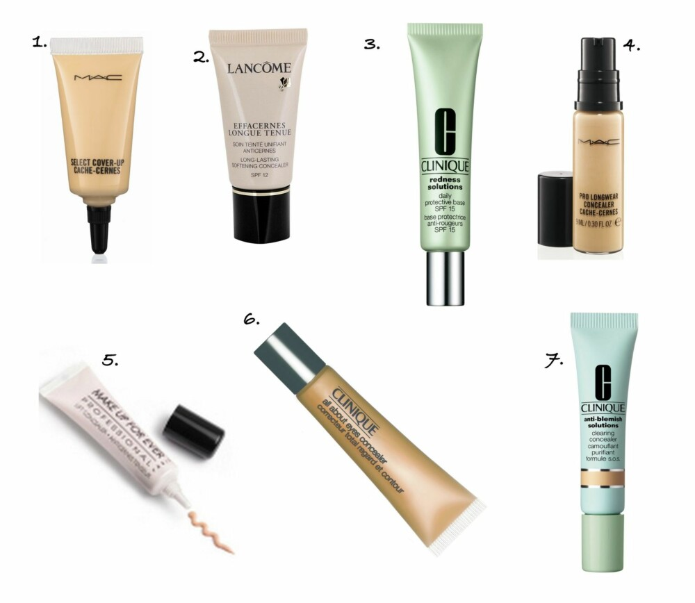 MEDIUM DEKK: 1. Select Cover-Up Concealer fra MAC, kr 160. 2. Effacernes Concealer fra Lancôme, kr 295. 3. Redness Solution Protective Base fra Clinique, kr 215. 4. Pro Longwear Concealer fra MAC, kr 160. 5. Lift Concealer fra Make Up For Ever, kr 243. 6. All About Eyes Concealer fra Clinique, kr 180. 7. Anti Blemish Clearing Concealer fra Clinique, kr 165.