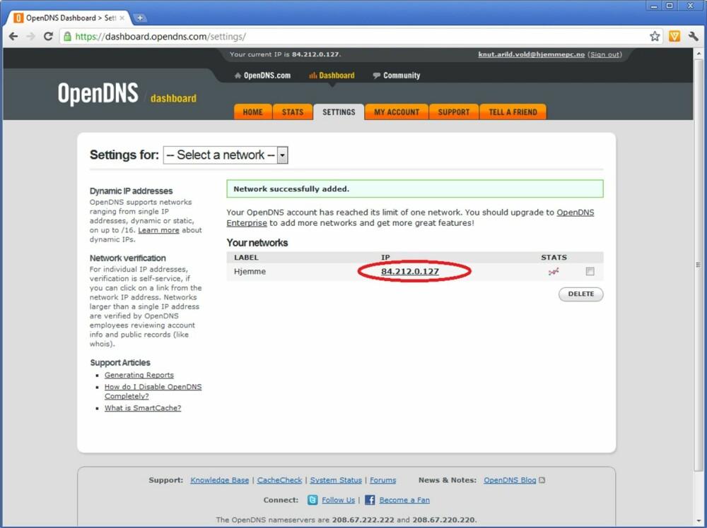 10. Du kommer nå til «Settings»-fanen i dashbordet på OpenDNS-sidene. Her kan du klikke på IP-adressen din for å stille inn sikkerhetsnivået.