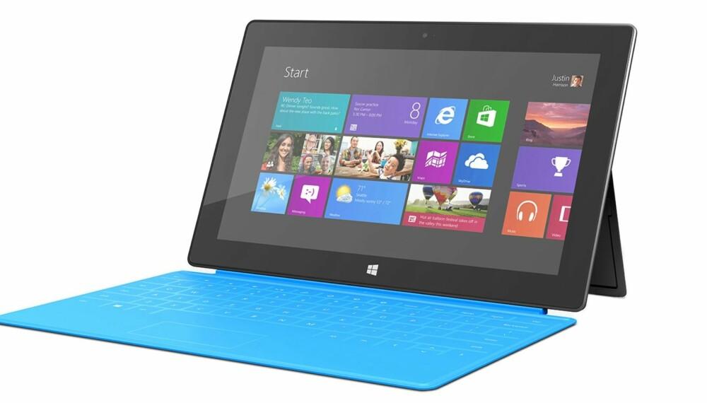 iPAD-KONKURRENT: Microsoft Surface Windows RT kommer til Norge 14. februar. Her vist med det elegante Touch-coveret.