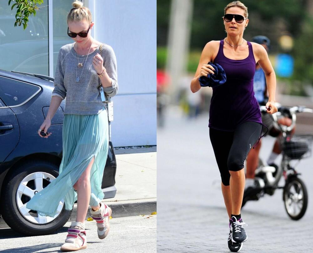 SPORTY KJENDISER: Kate Bosworth setter et sporty preg på det feminine skjørtet med et par kilehæl joggesko, mens Heidi Klum løper for harde livet i noen klassiske sorte asfaltsko med god demping.