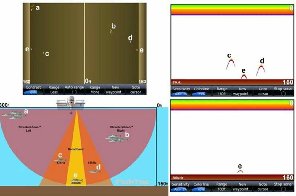 TOLKES: Bildet fra bredbåndsekkoloddet og sideskanneren trenger litt tilvenning for å tolkes (se rammesak over).