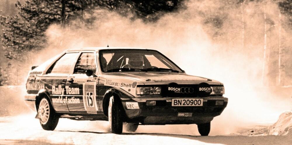 """RALLY: I Norge gikk Audi quattro både i rally og rallycross. Her er Gunnar Stenberg i fint driv """"""""på skauen""""""""."""