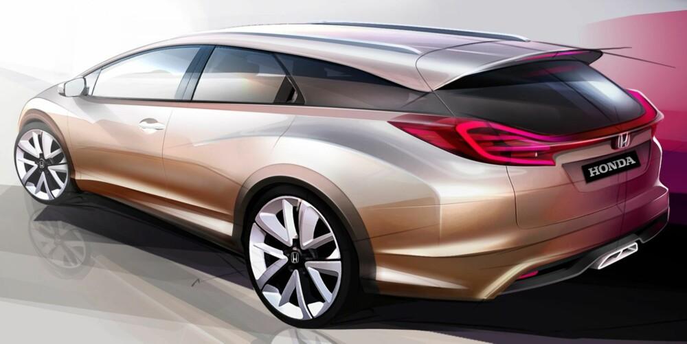 SKISSE: Konseptet på Honda Civic stasjonsvogn skal snart vises frem. ILLUSTRASJON: Honda