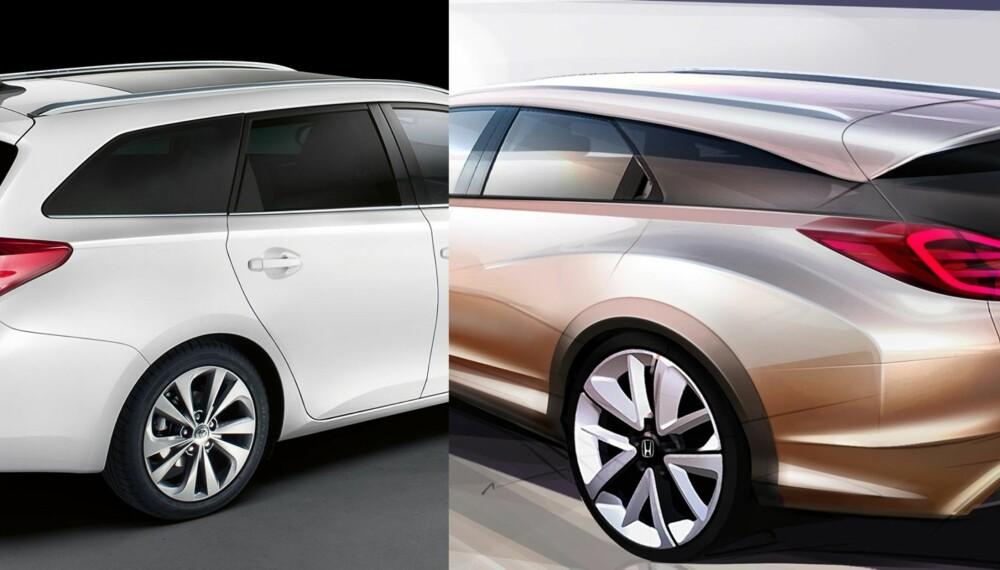NYE STASJONSVOGNER: Toyota Auris Touring Sports og Honda Civic som stasjonsvogn. FOTO: Produsenter