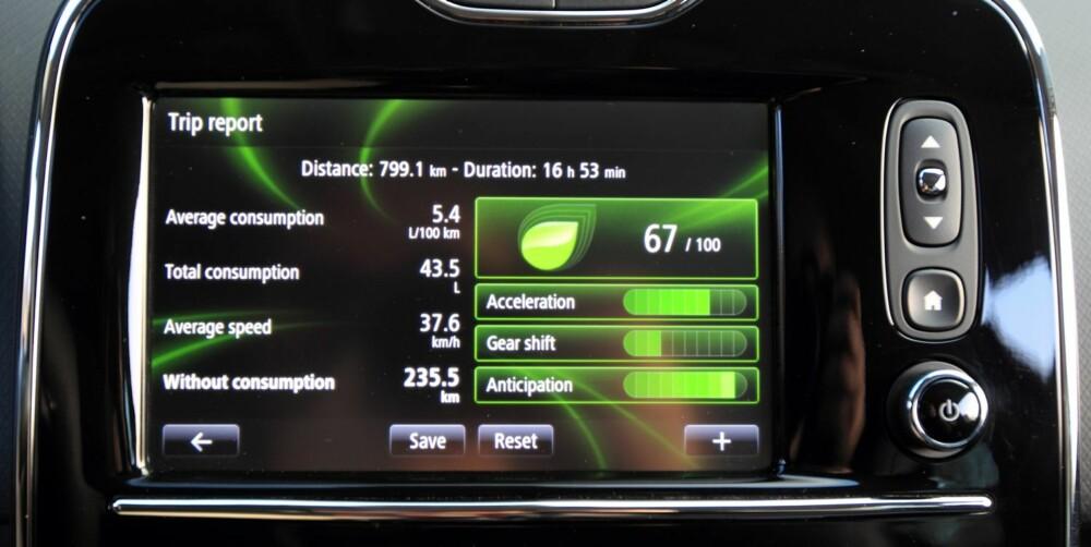 SPARETIPS: Kjørecomputeren har funksjoner som gjør deg oppmerksom på hvordan drivstofforbruket utvikler seg. Og i Renault Clio 1,5 dCi er det som regel hyggelig lesing.