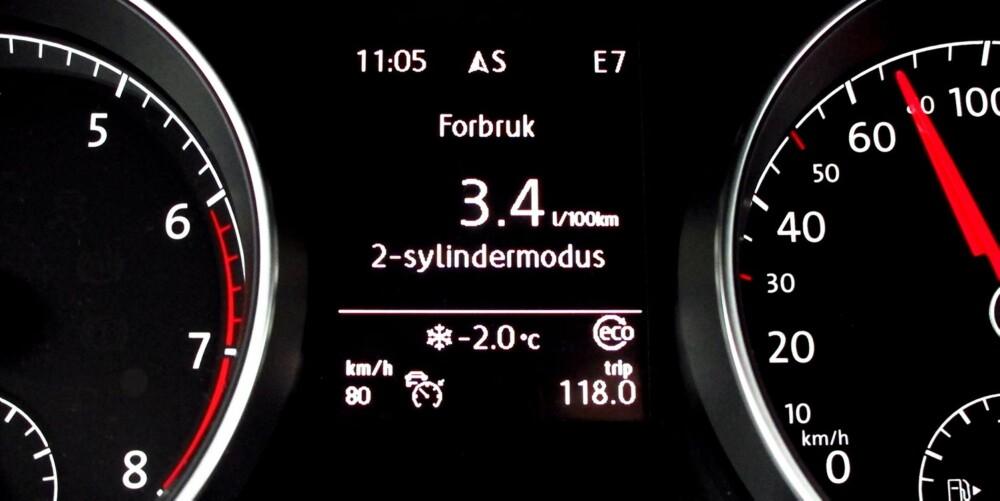 HÅPET ER LYSEGRØNT: Kjørecomputeren viser at motoren går i to-sylindret modus og bruker under 0,4 l/mil. Det inntreffer dessverre for sjelden i normal trafikk.