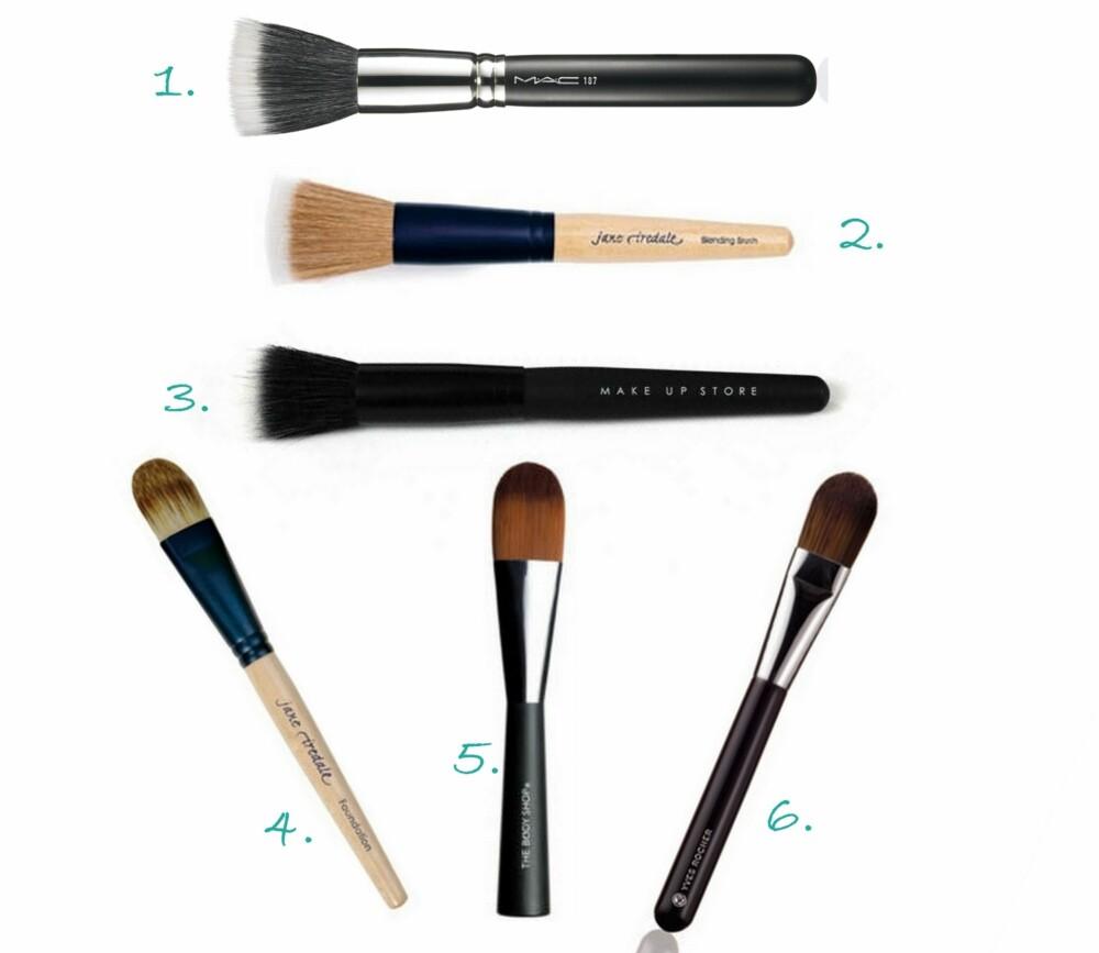 FOUNDATION-KOSTER: 1. Stipling Face Brush #187 fra MAC (kr 395), 2. Blending Brush pensel fra Jane Iredale (kr 319), 3. Foundation Brush Duo Hair fra  Make Up Store (kr 255), 4. Foundation Brush fra Jane Iredale (kr 365), 5. Foundation Brush fra The Body Shop (kr 149), 6. Foundationbørste fra Yves Rocher (kr 119).