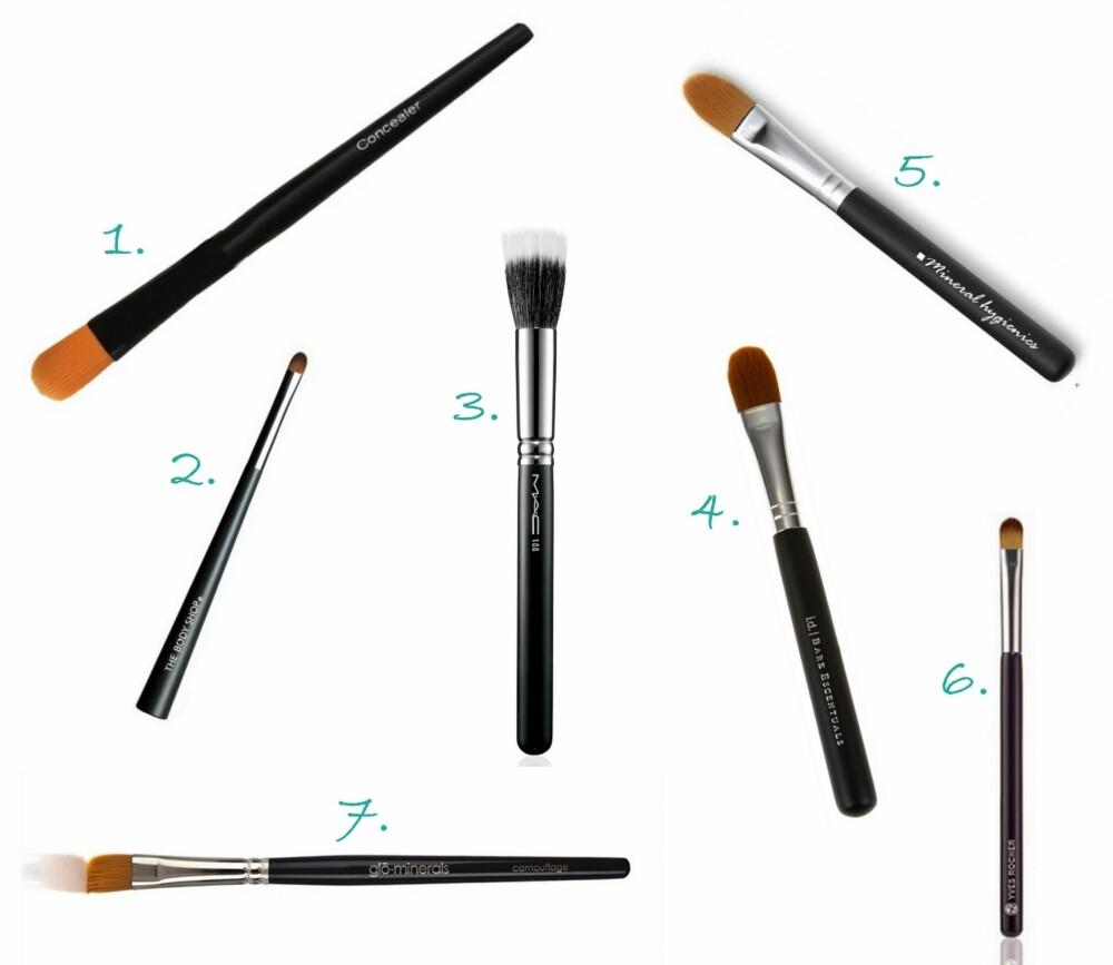 CONCEALER-KOSTER: 1. Concealer Brush fra Youngblood (kr 349), 2. Concealer Brush fra The Body Shop (kr 79), 3. Small Duo Fiber Face Brush #188 fra MAC (kr 315), 4. Max Coverage Concealer Brush fra Bare Escentuals (kr 249), 5. Wonder Concealer Brush fra Mineral Hygenics (kr 199), 6. Concealerpensel fra Yves Rocher (kr 89), 7. Camouflage Brush fra glóMinerals (kr 170).