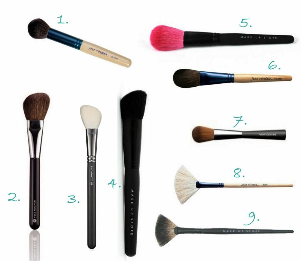 PUDDER OG ROUGE: 1. Dome pensel fra Jane Iredale (kr 360), 2. Rougebørste fra Yves Rocher (kr 119), 3. Large Angled Contour Brush #168 fra MAC (kr 315), 4. Rouge Brush Angle #367 fra  Make Up Store (kr 175), 5. POwder Brush Pink #357 fra  Make Up Store (kr 235), 6. Chisel Powder Brush fra Jane Iredale (kr 298), 7. Blusher Brush fra The Body Shop (kr 149), 8. White Fan Brush fra Jane Iredale (kr 160), 9. Fan Brush #330 fra  Make Up Store (kr 85).