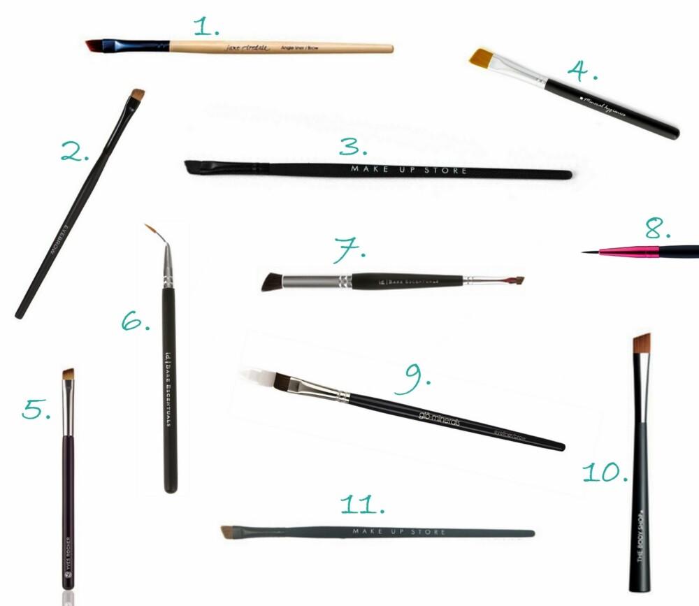 EYELINER OG BRYN: 1. Angle Definer pensel fra Jane Iredale (kr 125), 2. Eyebrow Brush fra Youngblood (kr 235), 3. Synthetic Brow Brush Angle #210 (kr 115), 4. Flat Mini Liner Brush fra Mineral Hygenics (kr 149), 5. Eyelinerpensel fra Yves Rocher (kr 79), 6. Slanted Liner Brush fra Bare Escentuals  (kr 189) 8. Eyeliner Brush fra Dirty Works (kr 39), 9. Eyeliner & Brow Brush fra glóMinerals  (kr 170),  10. Eye Shadow Slanted Brush fra The Body Shop (kr 99), 11. Angled Brush  Make Up Store (kr 150).