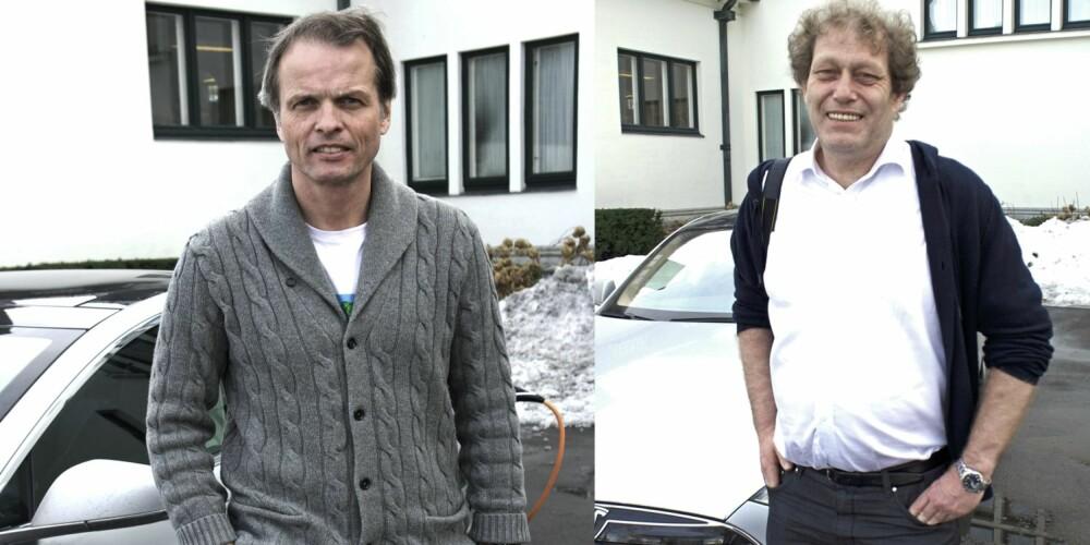 MODEL S-FANS: Erling Kagge og Frederic Hauge er ihuga Model S-fans. FOTO: Geir Svardal
