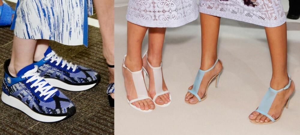 KALDE BYANSER: Vår babyblues har gått over i vill entusiasme for alle blåtoner! Du kan gå for behagelige sko som kule sneakers, lave ballerinas og nerdete loafers, eller velge elegante ankelstøvletter, spisse pumps eller sandaler med ankelrem som løfter antrekket enda litt mer. Til høyre: Kenzo. Til venstre: Burberry.