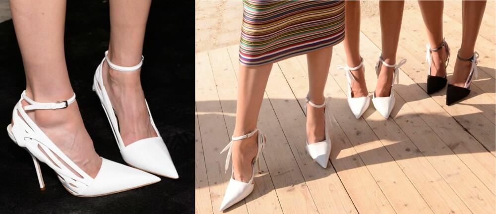CRISPY HVITT: Sesongens nykommer på føttene er hvite og vakre sko i alle mulige fasonger. Til venstre: Dior. TIl høyre: Dior.
